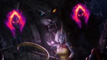 This fan art of Rengar lurking over an unassuming Soraka reflects the predator-prey relationship between Rengar and other champions in League of Legends.
