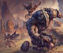 A monster-like humanoid crushes a hero beneath his grasp.