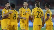 Rogic celebrates with his teammates after another victory for Australia. You can be sure he will be doing the same for you on FIFA 20.