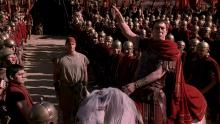 a shot of Julius Caesar and an army of Romans