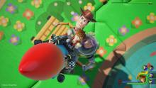 Sora, woody and buz flying in a rocket