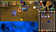 a screenshot from Old School RuneScape that shows someone attacking a Blue Dragon