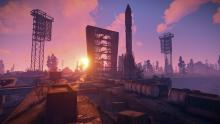 The launch site monument at sunrise in Rust.