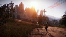 A rust player ventures down the road in the evening.