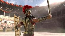 Marius greeting the crowd in the Colosseum.