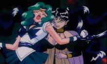 Queen Nehellenia first encounters the Sailor Senshi at the beginning of the series, and later encouter her again when she is the leader of the Dead Moon Circus. Using her mirrors once again, this time traveling through dream mirrors.
