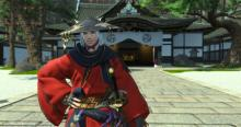 A Samurai smiling in gpose