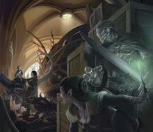 A Warforged and Half Elf lay in hiding from their adversaries as they search for them.