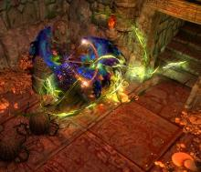 Scourge Arrow courses through enemies, inflicting them with the toxic effects of chaos.