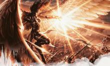 An angel producing a blindingly bright light towards an army.
