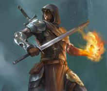 A Human Fighter with a Sword in one hand and his other hand wreathed in flame. He's a real firefighter.