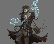 A Human sorcerer with lightning crackling off his hands. I would be shocked if I met him.