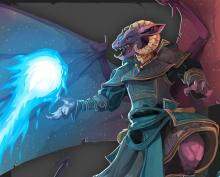 A Winged Dragonborn with a ball of magic in his hand.