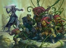 A drow using magic to cause Vines to wrap around and restrain Goblins or Red Caps.