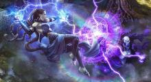 A Sorcerer summoning lightning against a lich who uses an arcane shield to attempt to block it.