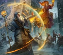 A wizard deflecting fiery projectiles of magic with a Shield spell
