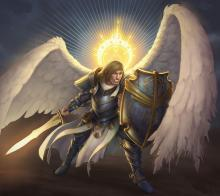 An angel in armor. Sometimes a Cleric or Paladin can summon one.