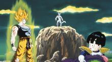 Goku stares down Frieza after becoming Super Saiyan