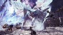 Hunters take on the ice elder dragon, Velkhana