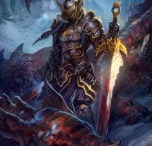 A knight over a dragon's body