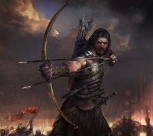 A male human fighter about to send two arrows into his foes
