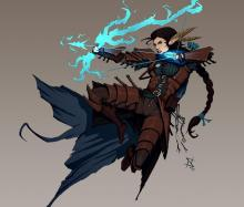 A female elf firing a magical arrow from a bow of the same material. Who needs real weapons?