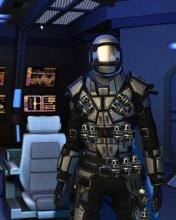 A front facing view of the Omega Force armor.