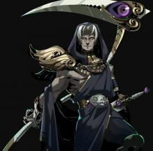 Thanatos posing with his scythe