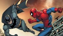What appears to be Ben Affleck's Batman taking on Spider-Man