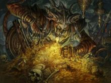 A tiger-man eying his gold