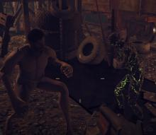 One visual bug that persists in people in Power Armor taking on the appearance of a...ghastly elongated naked man.