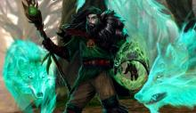 Stepping out of the woods, a druid summons spectral wolves to aid him.