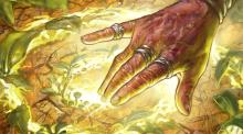 A druid touches the earth, reaching out to the magic within to druidcraft new plants.