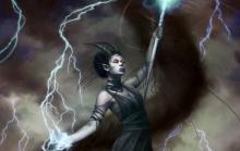 A tiefling mage is eerily calm as she calls forth lightning to strike her enemies.
