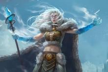 Ice crawls up the arms of a female mage as she prepares to unleash the fury of a wintry storm.
