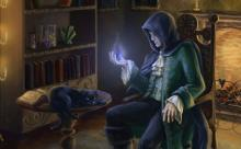 A scrying spell comes to an end, the caster content with what he's seen from the comforts of his home.