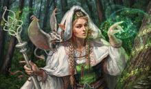 A druid casts her magic, preparing a tree for the upcoming trip.