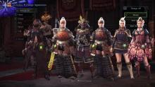 A group of hunters showing off their layered armor.