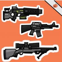 Some of the more useful guns drawn by a talented player.
