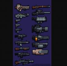 All the base game guns laid out for comparison.