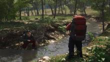 Take a break from salaying zombies and surviving the wilderness to peacefully camp by the stream and have a refreshing drink of water, then kill your camping buddy and take his stuff...also eat him.