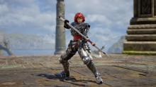 Hilde is a Soul Calibur veteran who is not currently in the game, but as a custom character, she looks very close to her original design.