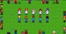 Stardew valley characters at the spring main event