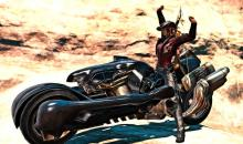 A player posing on the SDS Fenrir from FF7