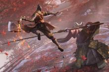 Wolf dashes towards an enemy with his sword raised in Sekiro: Shadows Die Twice