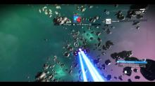 Here you'll see a ship flying through some asteroids.