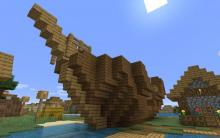 Shipwrecks in villages, underwater, and more! This world seed generates shipwrecks throughout a village, on land and below.