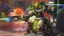 Orisa shooting during a match in game.