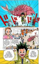 In order to take the hunter exam, Gon's aunt made him catch a fish.