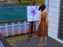 A sim with a sad moodlet will paint this sad butterfly